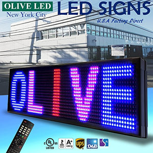 "OLIVE LED Sign 3Color RBP, P15, 12""x41"" IR Programmable Scrolling Outdoor Message Display Signs EMC - Industrial Grade Business Ad Machine."