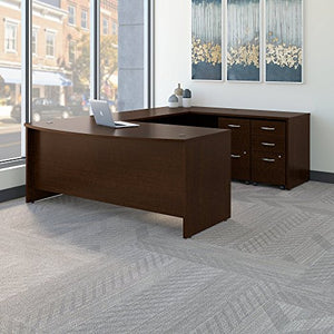 Bush Business Furniture Series C 72W x 36D Bow Front U Shaped Desk with Mobile File Cabinets in Mocha Cherry