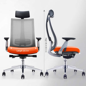 GAOAG Ergonomic Office Chair High Back Lumbar Support Adjustable Swivel Best 2019 Luxury Mesh Chair with Armrest Headrest Orange Grey