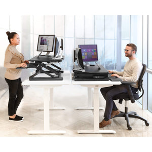"Seville Classics OFF65806 Airlift 36"" Electric Height Adjustable Standing Desk Converter Workstation with 2.1A USB Charger Ergonomic Motorized Dual Monitor Riser, Full, Black"