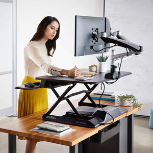 VARIDESK – Height Adjustable Standing Desk Converter - ProPlus 36 Electric & PowerHub – Stand Up Desk for Dual Monitors