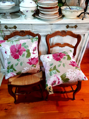 Floral French linen cushions