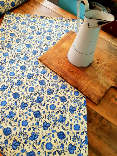 Blue and cream Provencale tablecloth