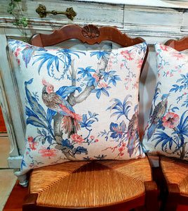 French linen bird cushion