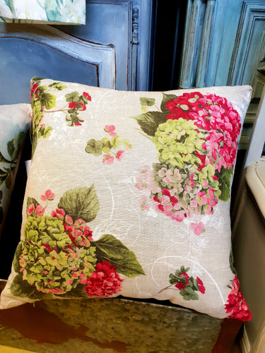 Pink and Green Hydrangea cushion
