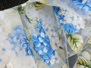 Blue hydrangeas organza tablecloth