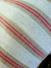 Beige and red striped Kelsh linen cushions