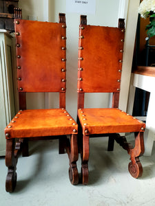 Gothic style antique French leather chairs