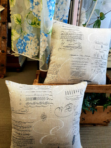 French script linen cushion