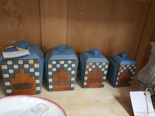Vintage wooden canisters, France