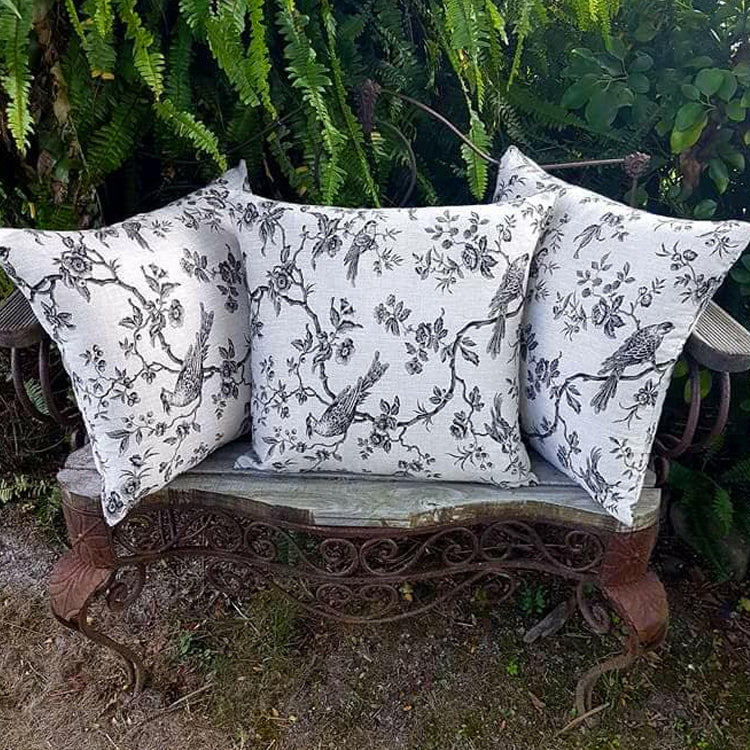 Beige Black Bird Cushion