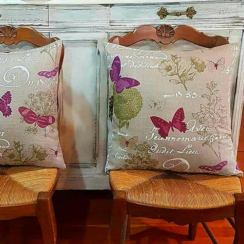 Beige Butterfly Script Cushion