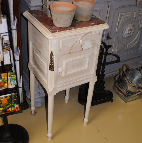 Painted bedside cabinet with ormolus