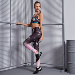 Legging del espacio degrade rosa