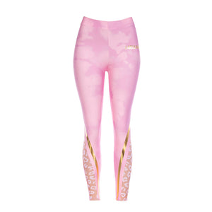 Legging rosa con animal print dorado