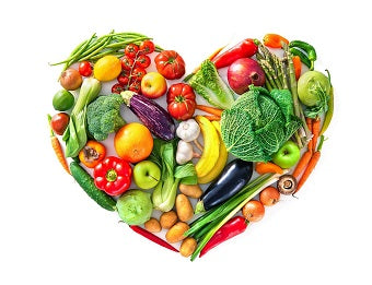 Healthy heart made of fruit and vegetables