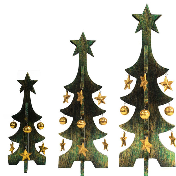 1 x Set of 3 Minimalist Christmas Trees - Green & Gold