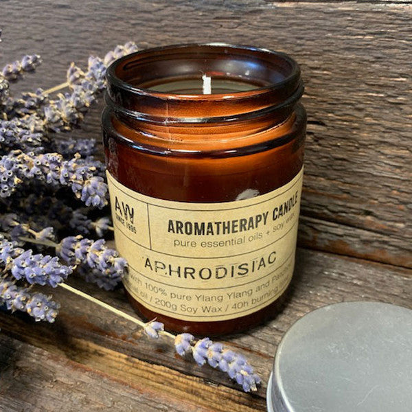 Aromatherapy Candle - Aphrodisiac - with 100% pure Ylang Ylang and Patchouli Essential Oil