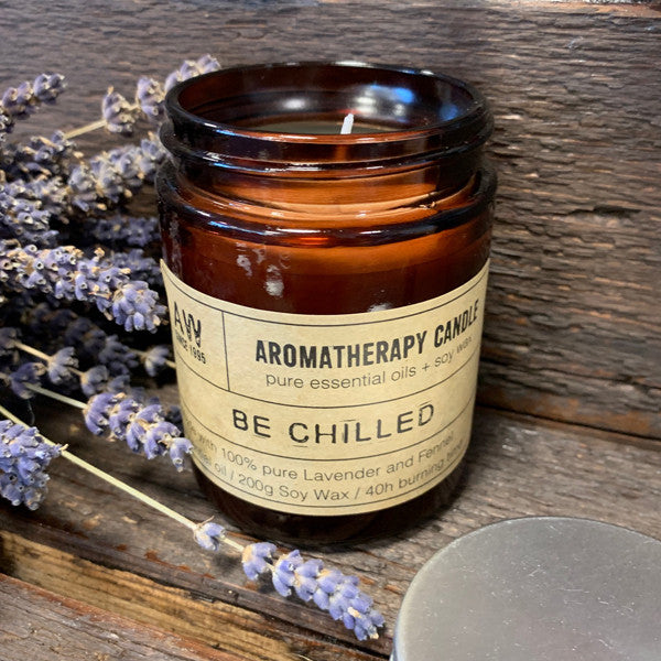 Aromatherapy Candle - Be Chilled - with 100% pure Lavender and Fennel Essential Oil