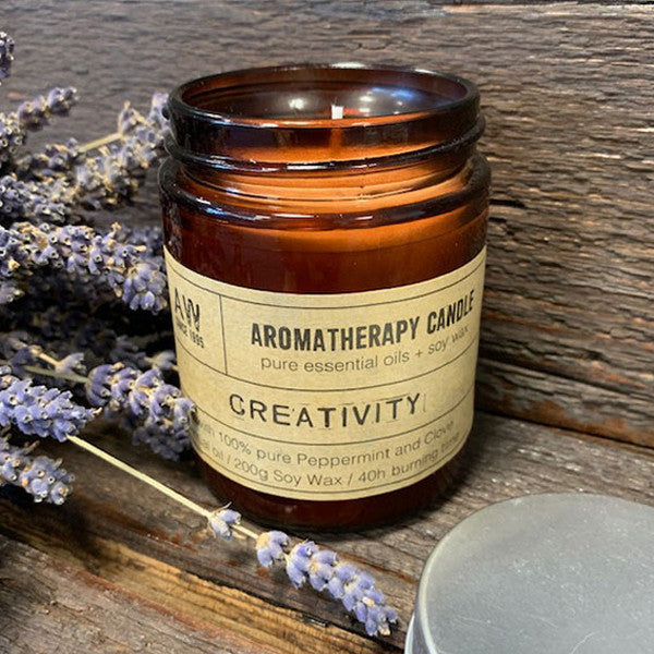 Aromatherapy Candle - Creativity - with 100% pure Peppermint and Clove Essential Oils