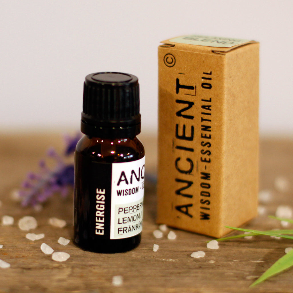 Energising Essential Oil Blend - Peppermint, Frankincense and Lemon - Boxed - 10ml