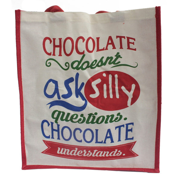 Jute Shopping Bag - Chocolate Doesn't Ask