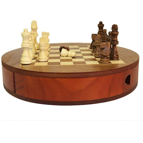 Round Wooden Chess Set with Drawers - 30cm