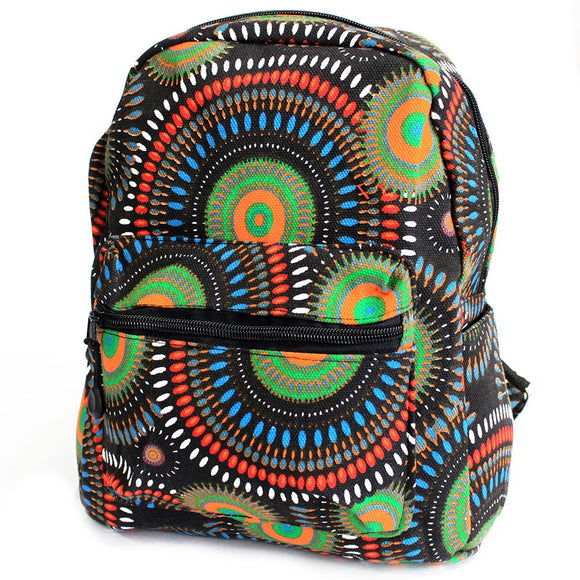 Undersized Backpack - Green Mandala Design