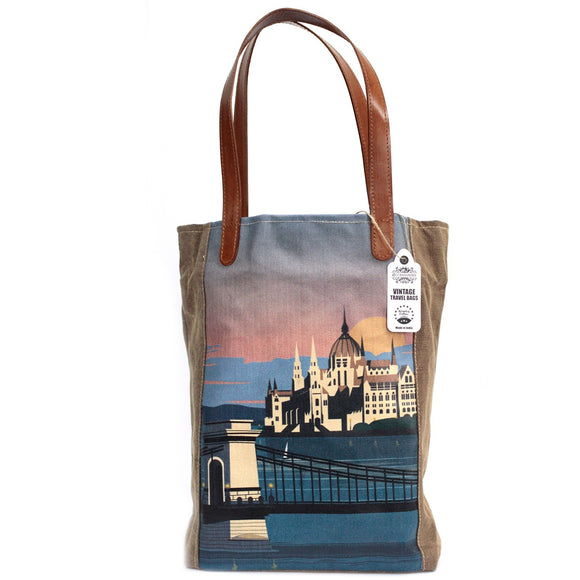 Vintage Style Travel Themed Bag - Budapest