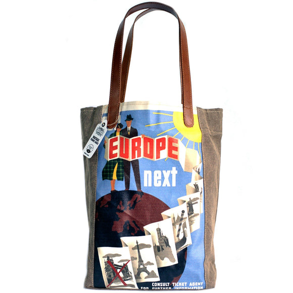 Vintage Style Travel Themed Bag - Europe