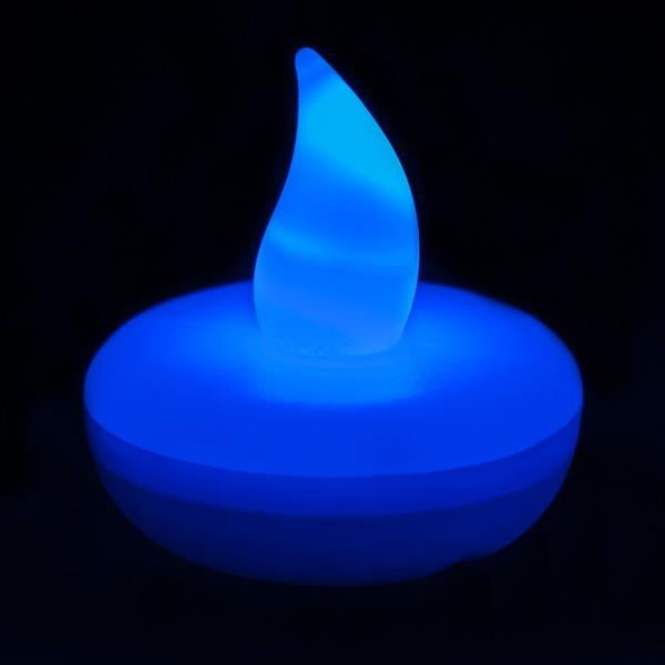 Blue LED Floater, Available In Flicker/ Non-Flicker - Pack of 12 - IntelliWick
