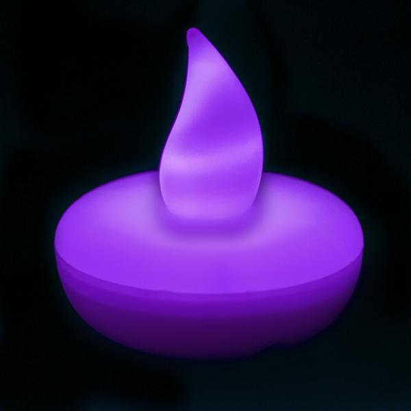 Purple LED Floater, Available In Flicker/ Non-Flicker - Pack of 12 - IntelliWick