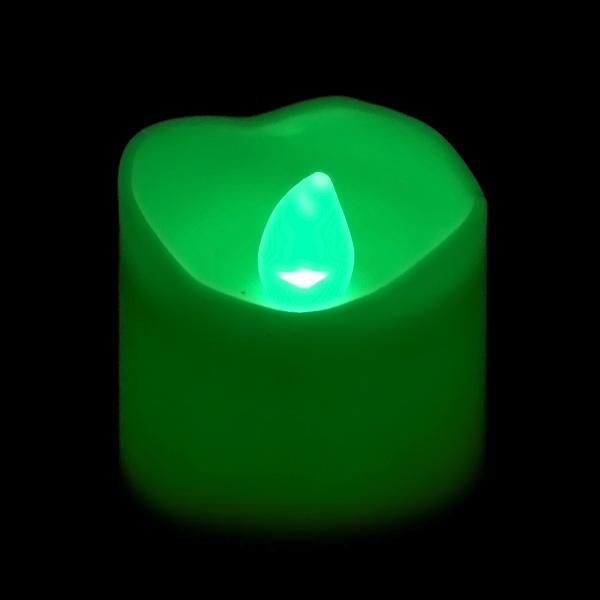 Green LED Votive, Available in Flicker/ Non-Flicker - Pack of 12 - IntelliWick