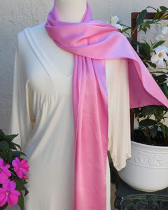 Color Healing Hand-Dyed Silk Scarf, Silk Charmeuse, Pink or Spring Green
