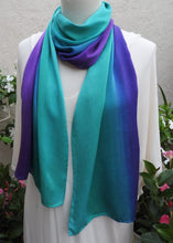 Load image into Gallery viewer, Hand Painted Silk Charmeuse Scarf, Emerald Green, Turquoise, Sapphire Blue, Violet, 100% silk, Handmade, Luxury Gift