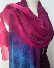 Load image into Gallery viewer, Hand Painted Silk Chiffon Jacquard Shawl / Scarf Ruby Violet Sapphire Blue