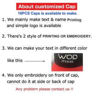 10pcs/lot High Quality Custom Logo Caps, Women/Men Snap back Blank Customized Hats