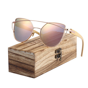 Cat Eye Bamboo Sunglasses Polarized Metal and Wood Frame with Box