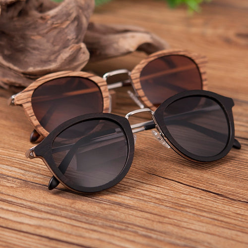 Wooden Bamboo Polaroid Sunglasses with Wooden box