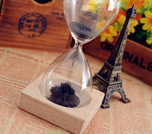 Stress Reliever Magnetic Hand Blown Hour Glass With Wooden Base