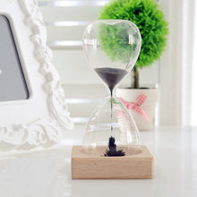 Load image into Gallery viewer, Stress Reliever Magnetic Hand Blown Hour Glass With Wooden Base