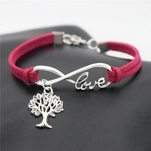 Load image into Gallery viewer, Tree of Life Silver Pendant Leather Infinity Love Charm Bracelet