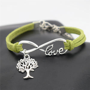 Tree of Life Silver Pendant Leather Infinity Love Charm Bracelet