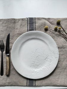 Embroidered Series Dinner Plate white- French