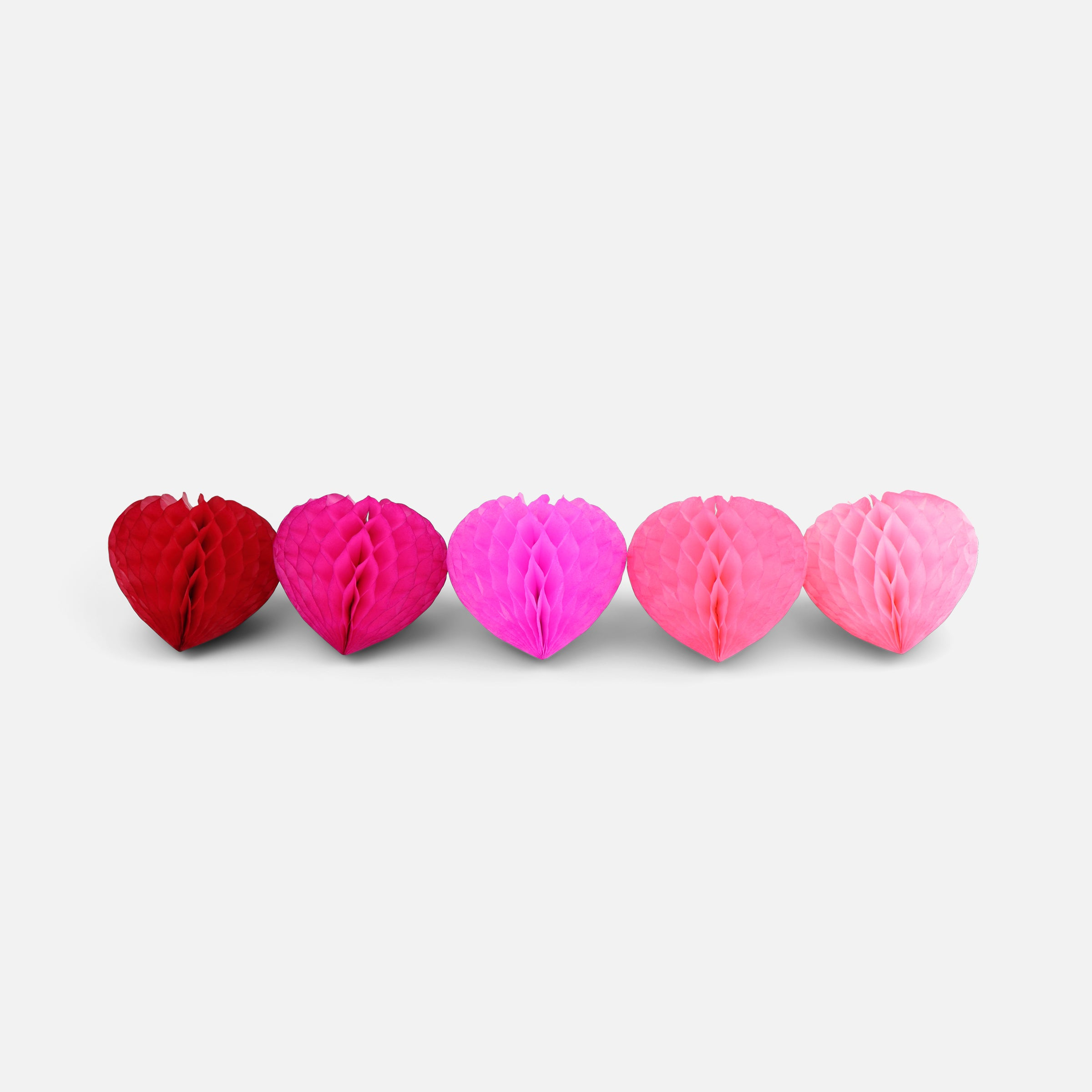 Honeycomb Heart 10cm Pinks, Pack of 5