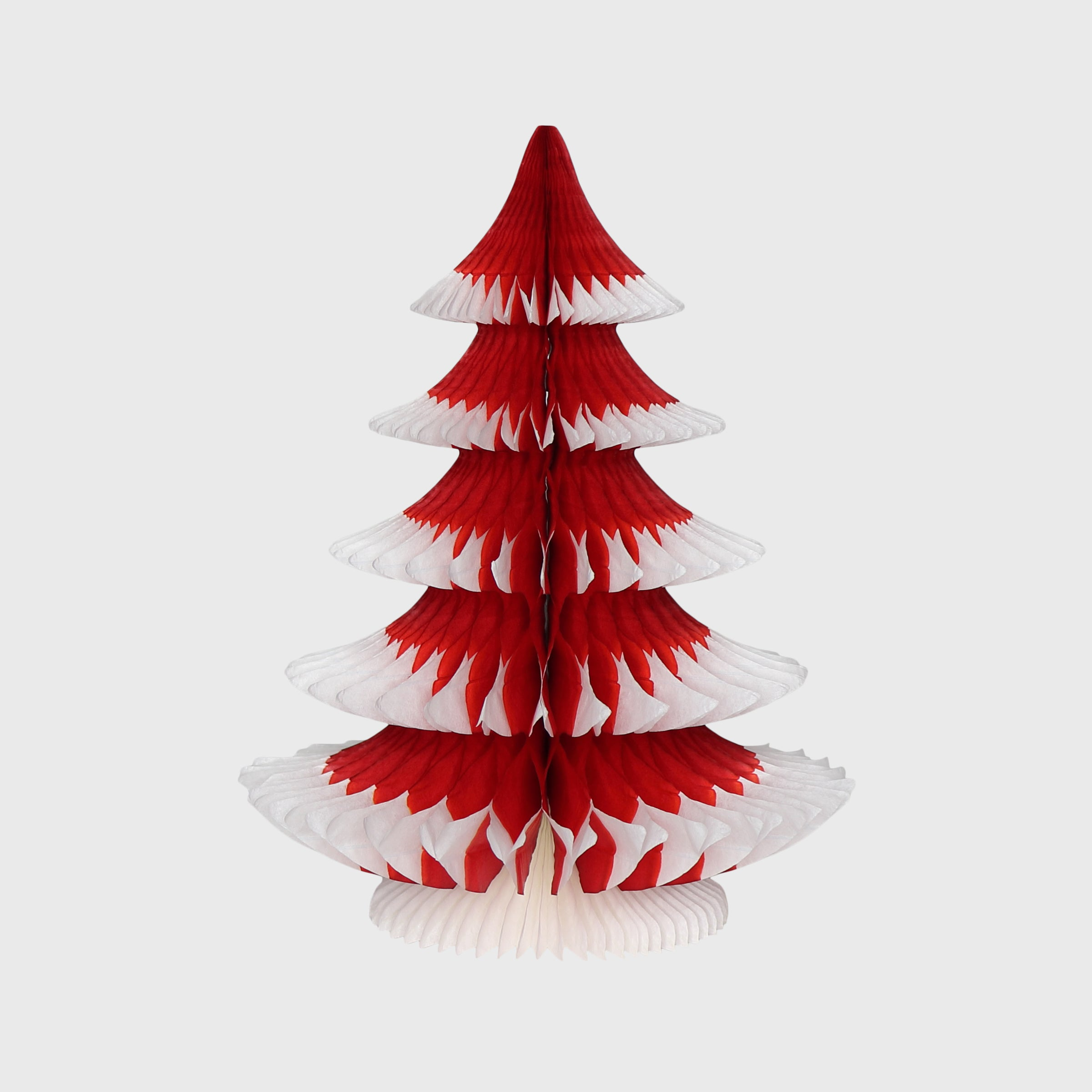 Snow Tipped Honeycomb Christmas Tree, Classic Red