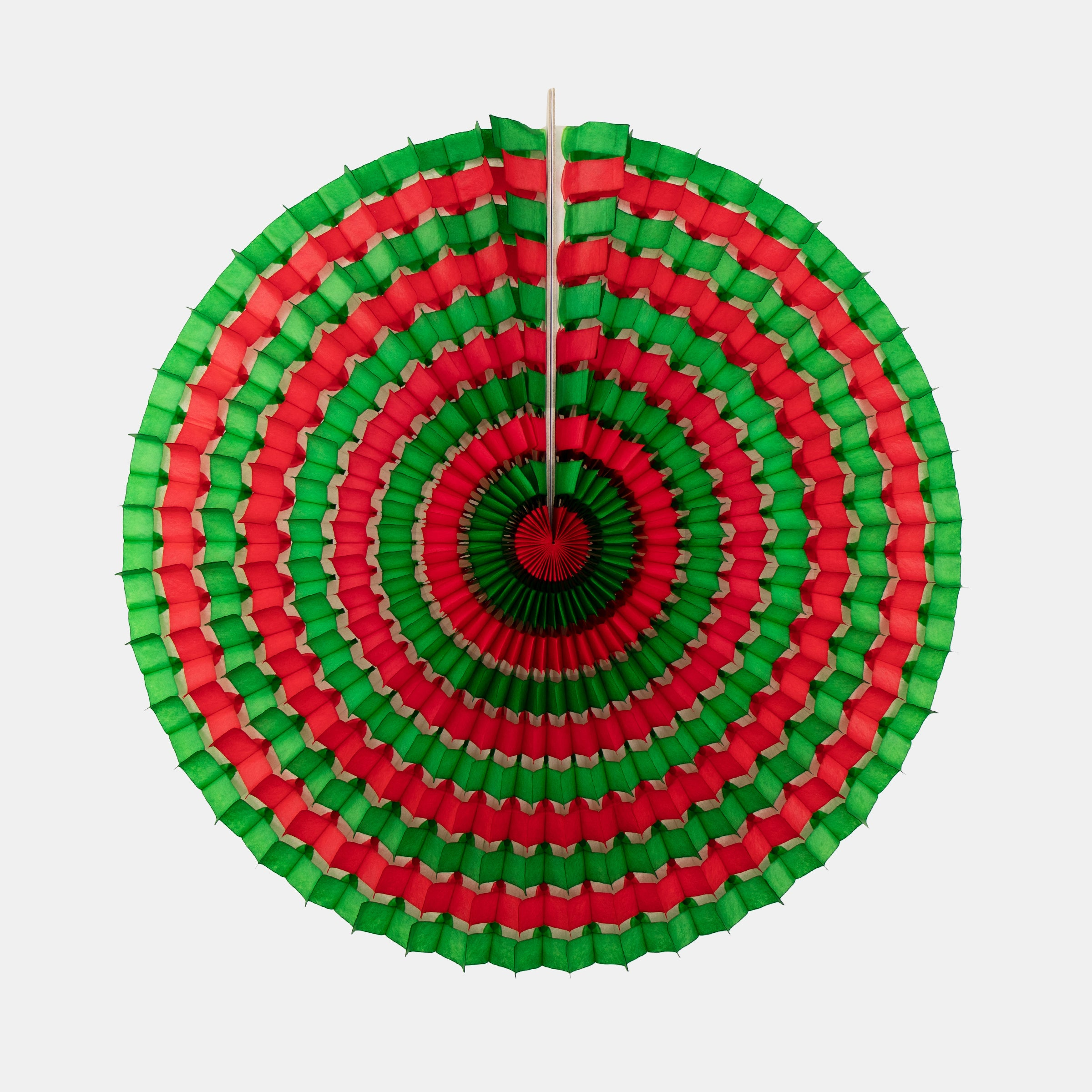 Striped Fan 40cm, Green & Red