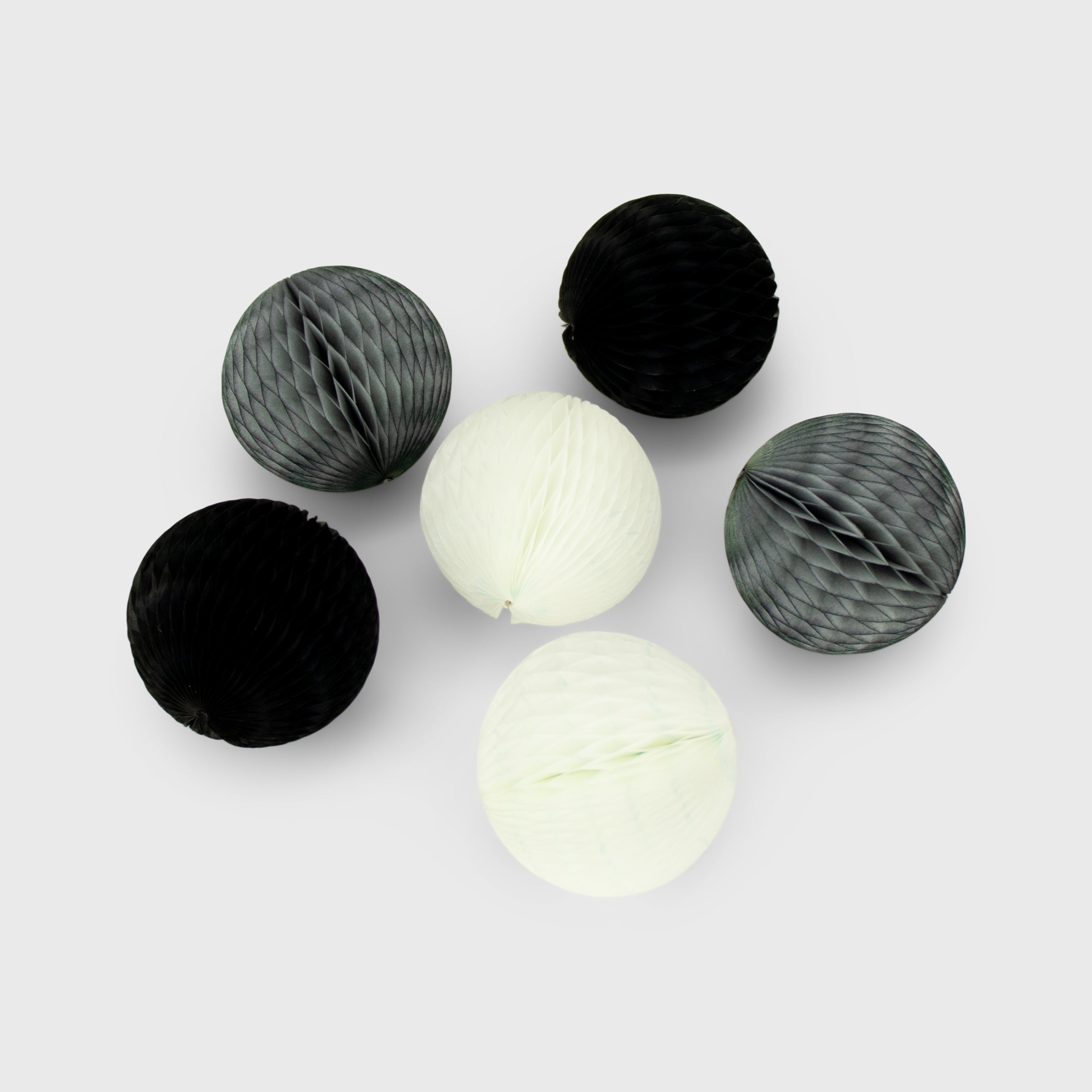 Honeycomb Ball 5cm Pack of 6, Monochrome
