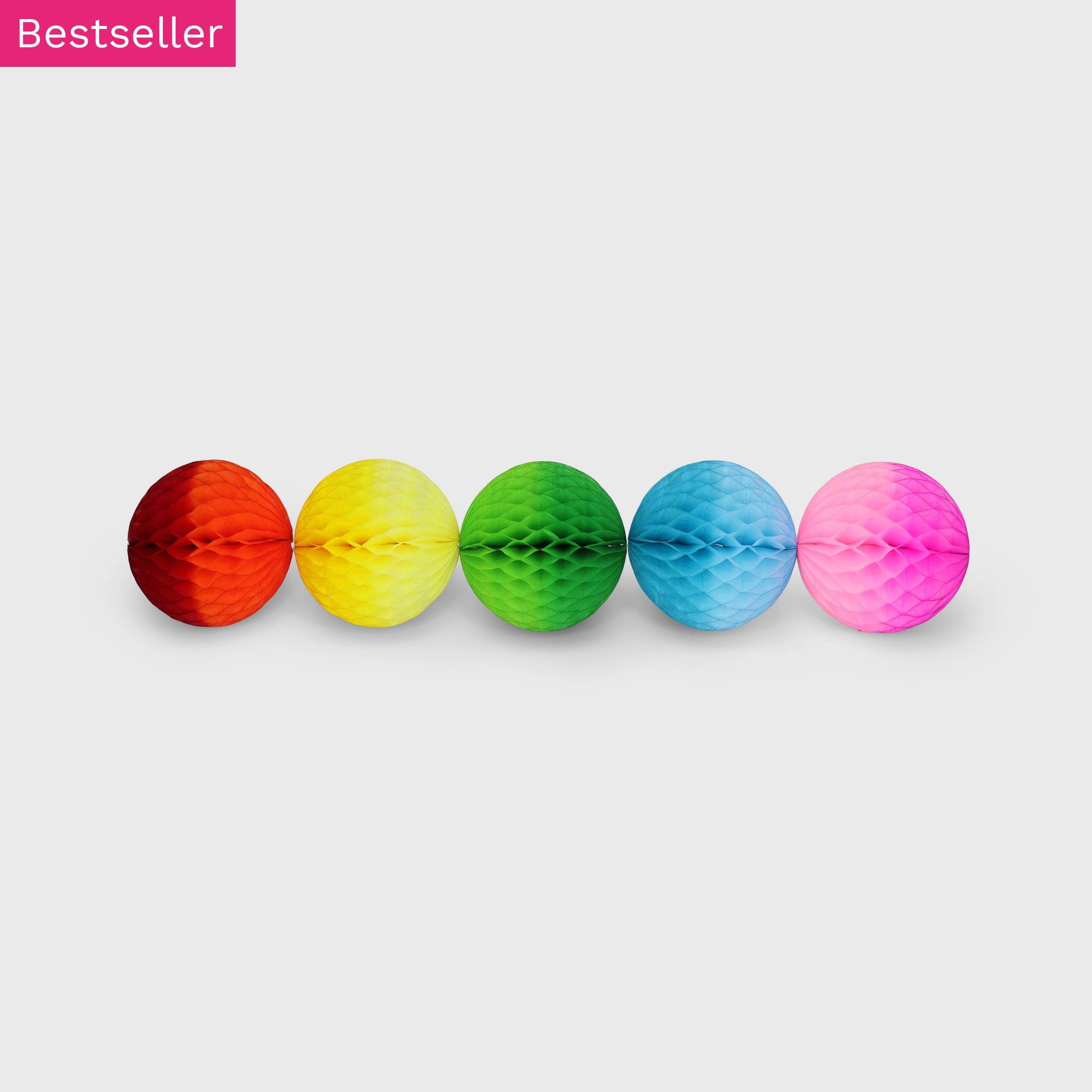 Honeycomb Ball 10cm Pack of 5, Rainbow Ombre