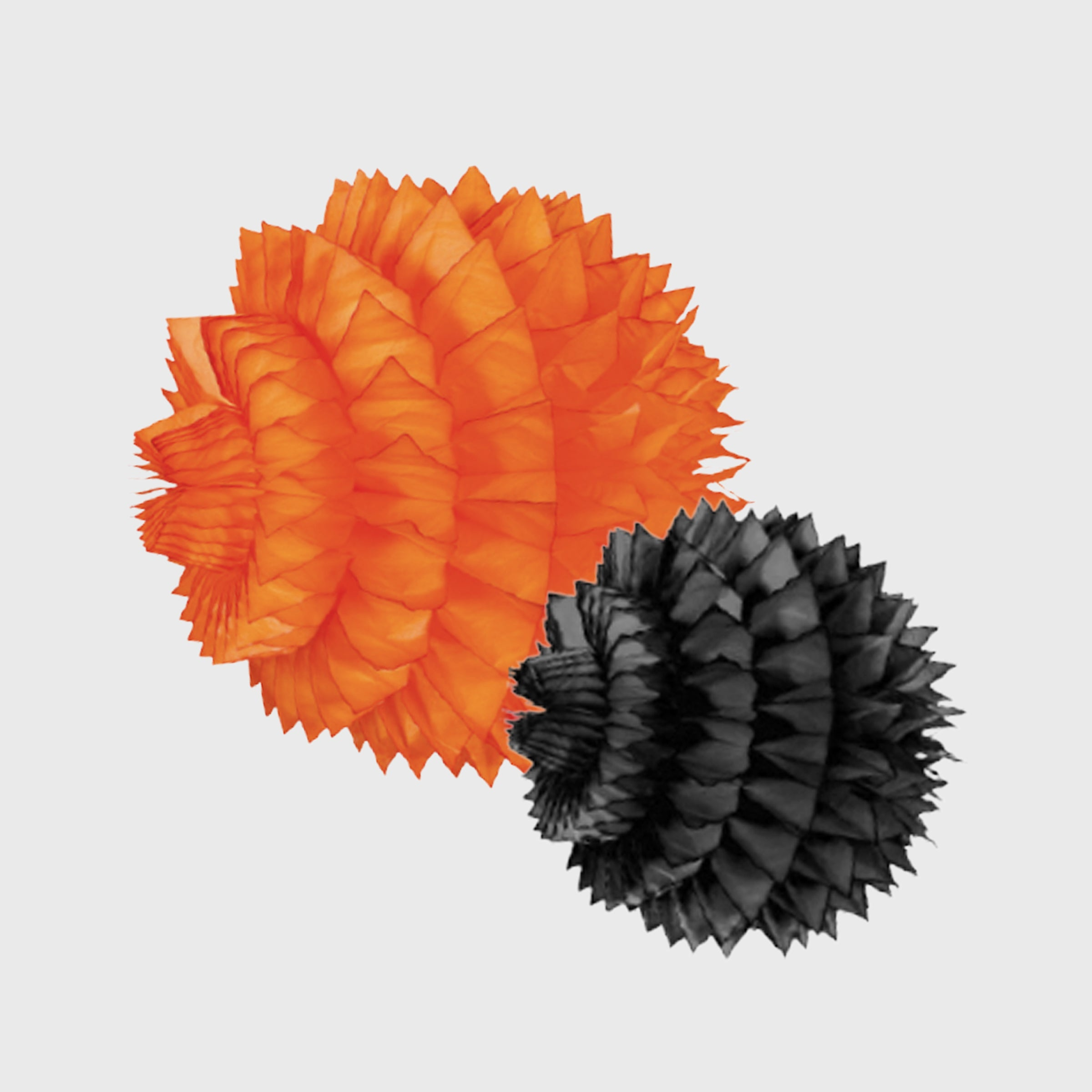 SPIKY HONEYCOMB BALL 30 & 40 CM, BLACK & ORANGE, 2 PACK